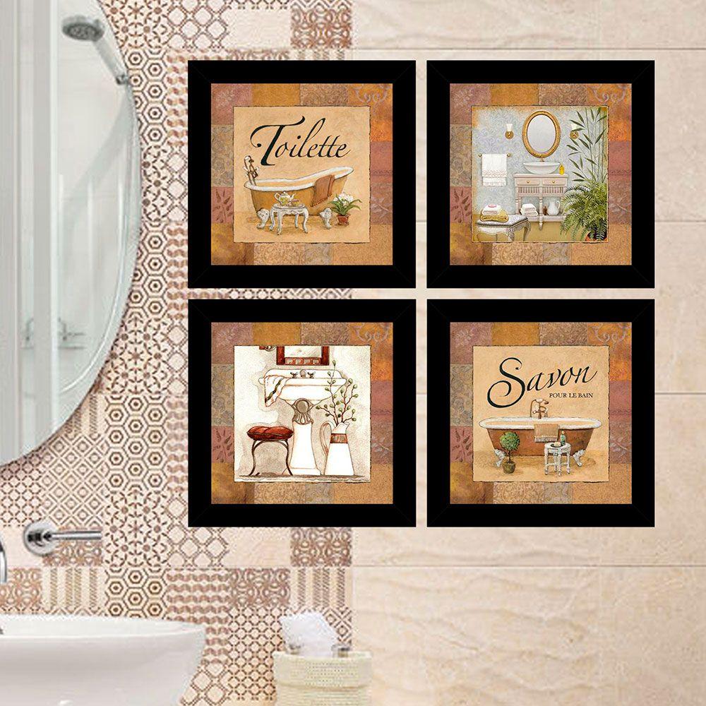 Kit 4 Quadros Decorativos Composê Banheiro - Toilette