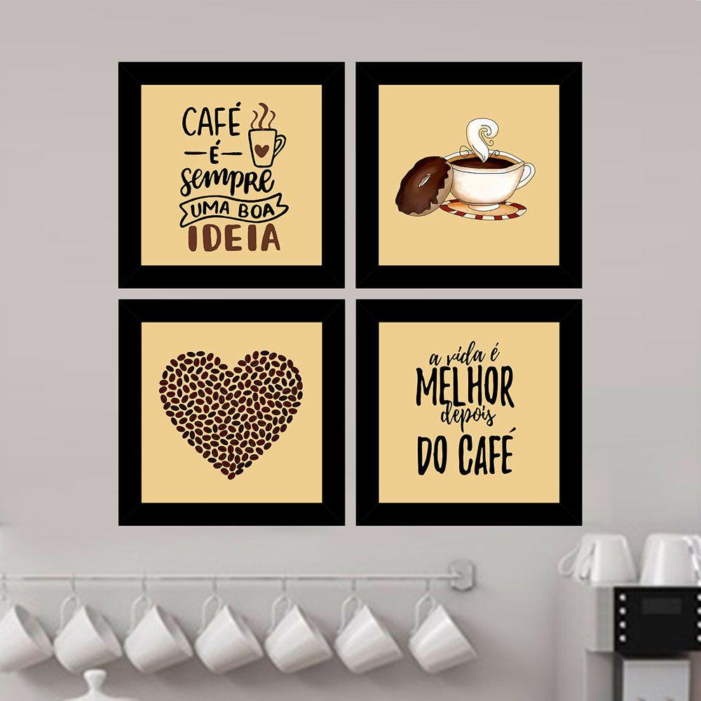 Quadro Composê 40x40 Quadrado Café É Sempre Uma Boa Idéia