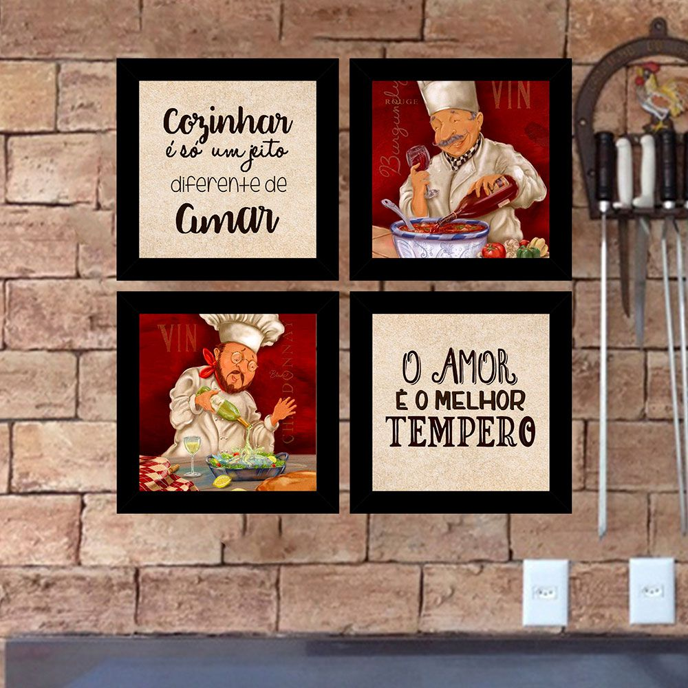Kit 4 Quadros Decorativos Composê Cozinhar É Um Jeito De Amar
