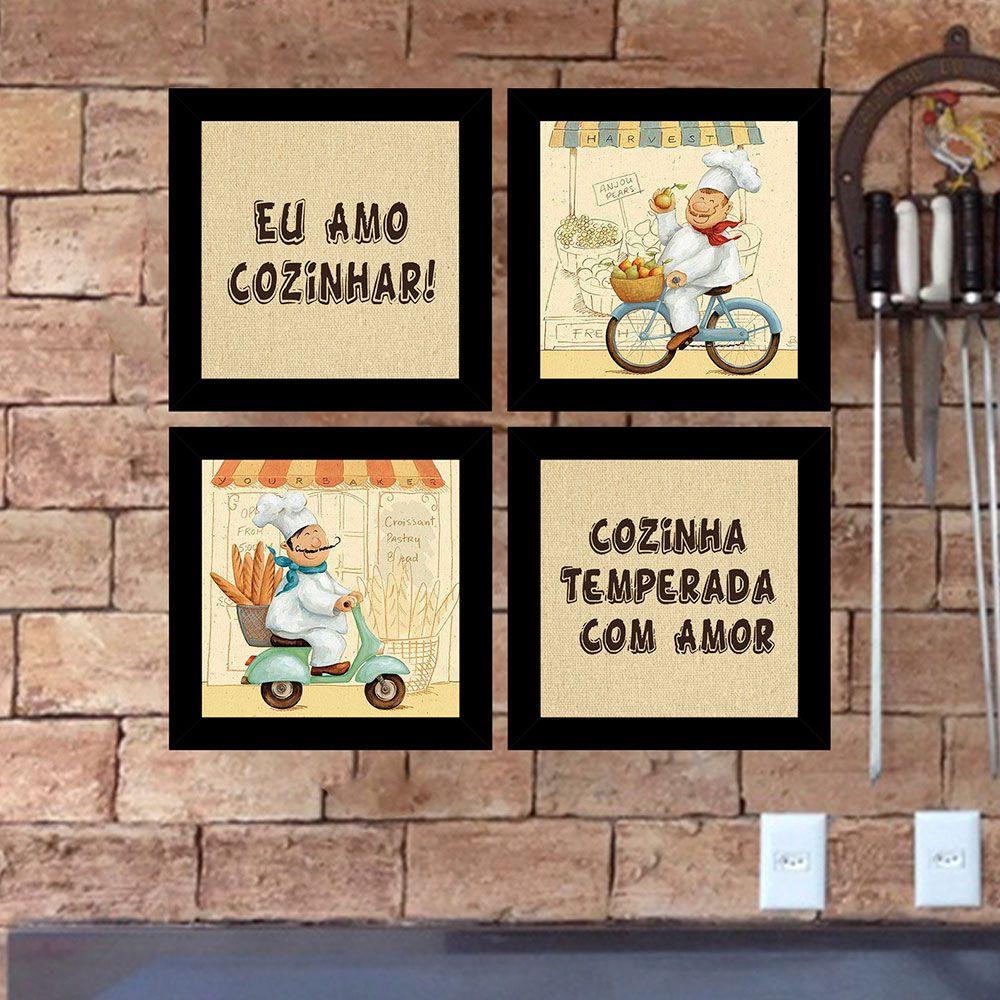 Kit 4 Quadros Decorativos Composê Eu Amo Cozinhar