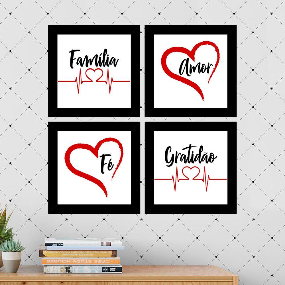 Kit 4 Quadros Decorativos Composê Família Amor Fé Gratidão