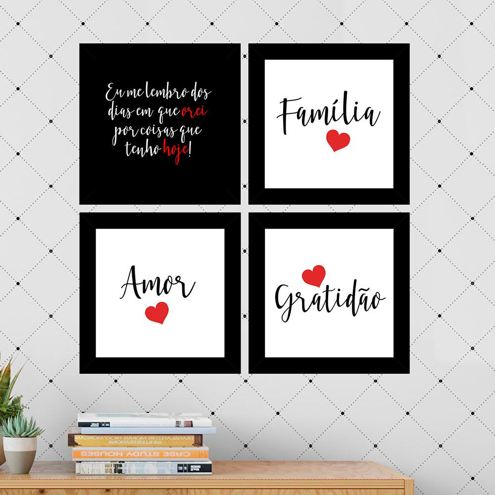 Quadro Composê 40x40 Quadrado Família Amor Gratidão Vermelho