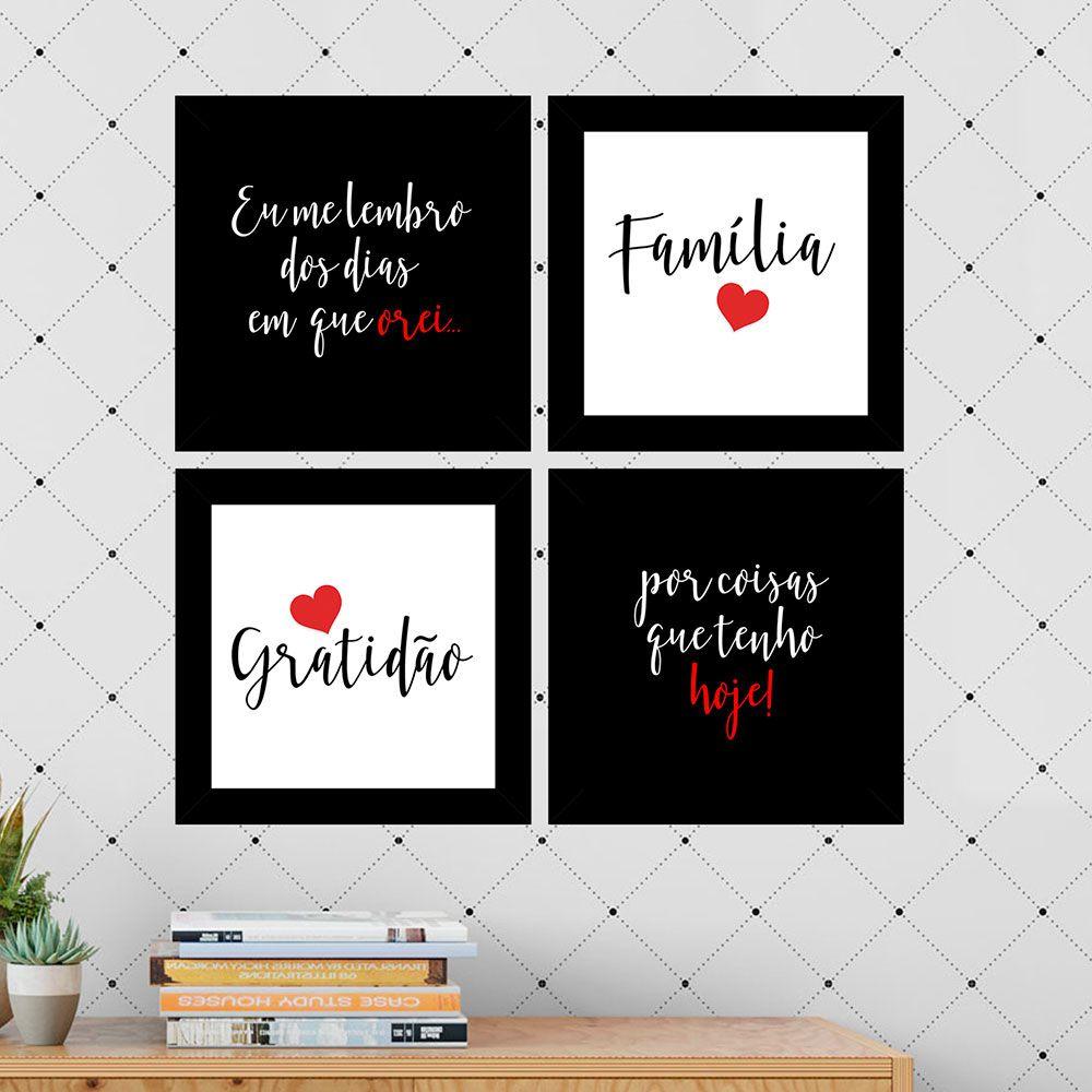 Kit 4 Quadros Decorativos Composê Família Gratidão Vermelho
