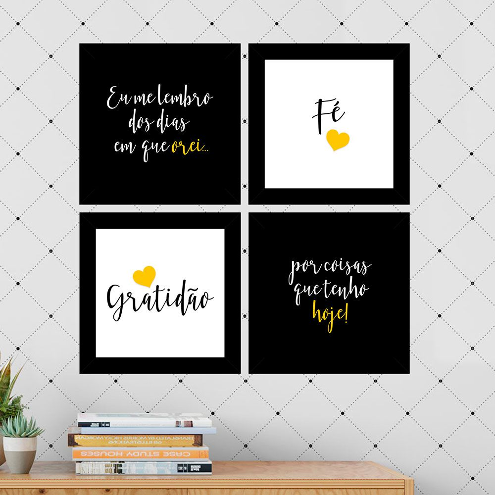 Kit 4 Quadros Decorativos Composê Fé Gratidão Amarelo