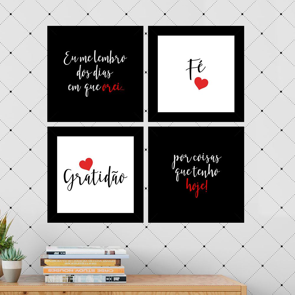 Kit 4 Quadros Decorativos Composê Fé Gratidão Vermelho