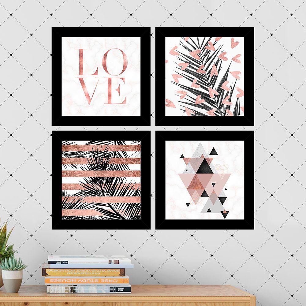 Kit 4 Quadros Decorativos Composê Love Folhagens