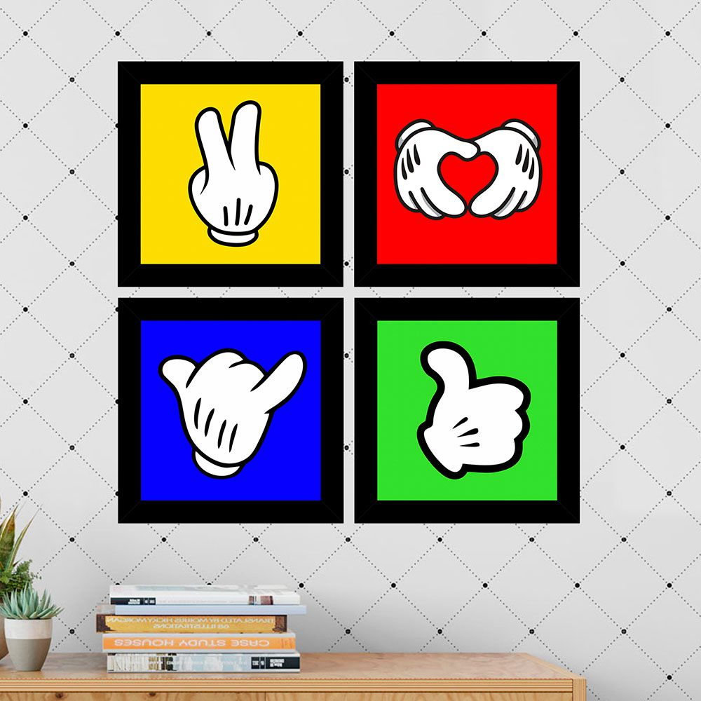 Kit 4 Quadros Decorativos Composê Luvas Brancas Fundo Colorido