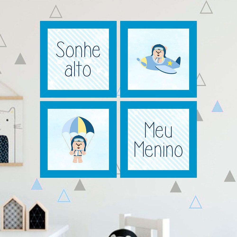 Kit 4 Quadros Decorativos Composê Sonhe Alto Meu Menino