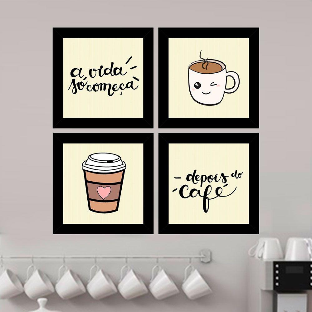 Kit 4 Quadros Decorativos Composê Vida Só Começa Depois Do Café