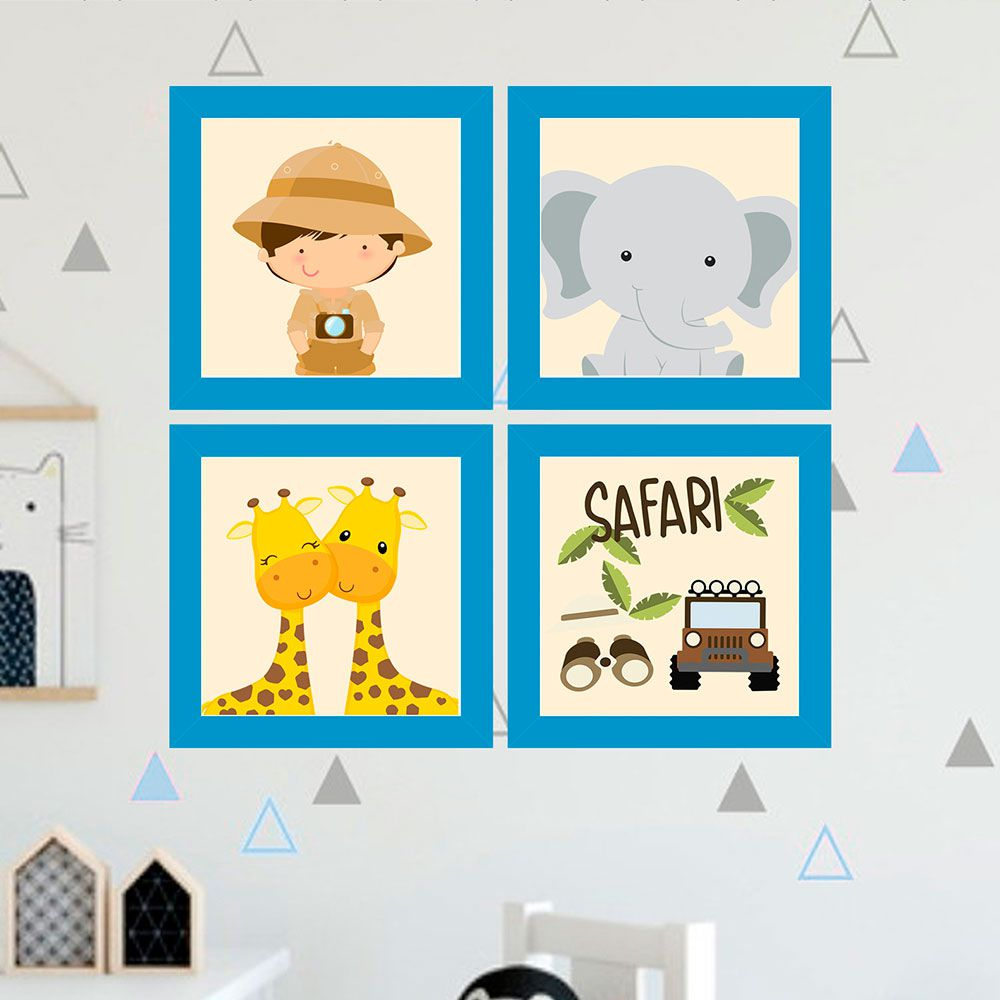 Kit 4 Quadros Decorativos Composê Turma Do Safari
