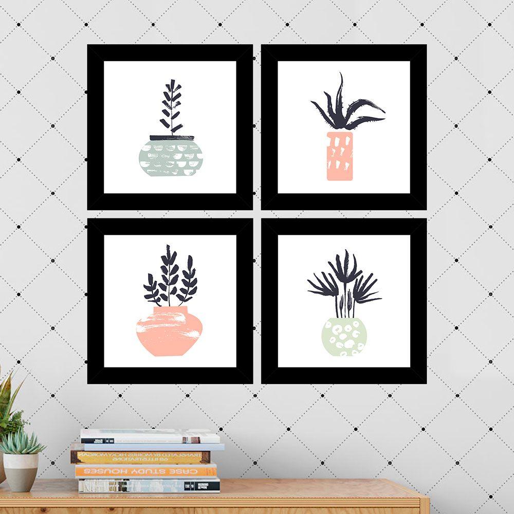 Kit 4 Quadros Decorativos Composê Vasinhos De Plantas