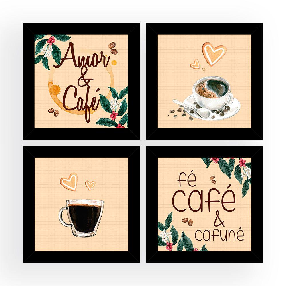 Kit 4 Quadros Decorativos Composê Amor & Café
