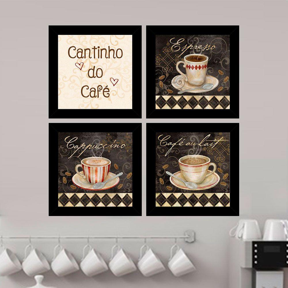Kit 4 Quadros Decorativos Composê Cantinho Do Café