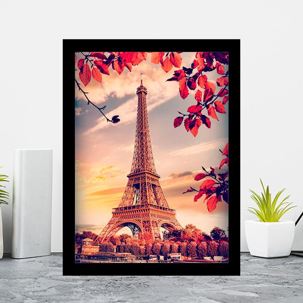 Quadro Decorativo 27x33 Cidade Torrel Eiffel Vintage