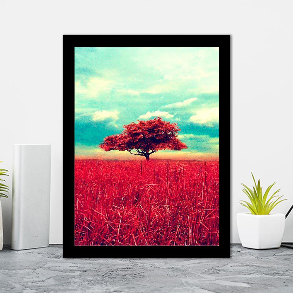 Quadro Decorativo 27x36 Árvore Vermelha