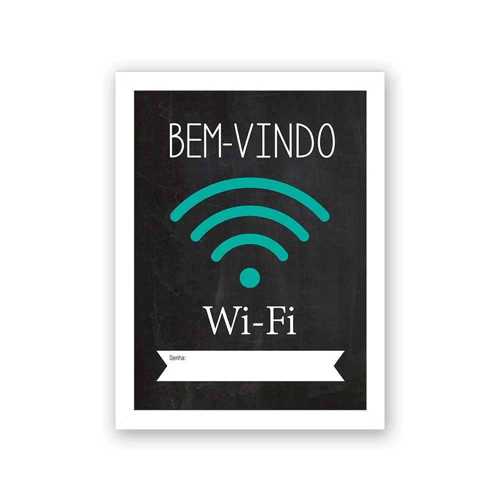 Quadro Decorativo 27x36 Bem Vindo Wi-Fi