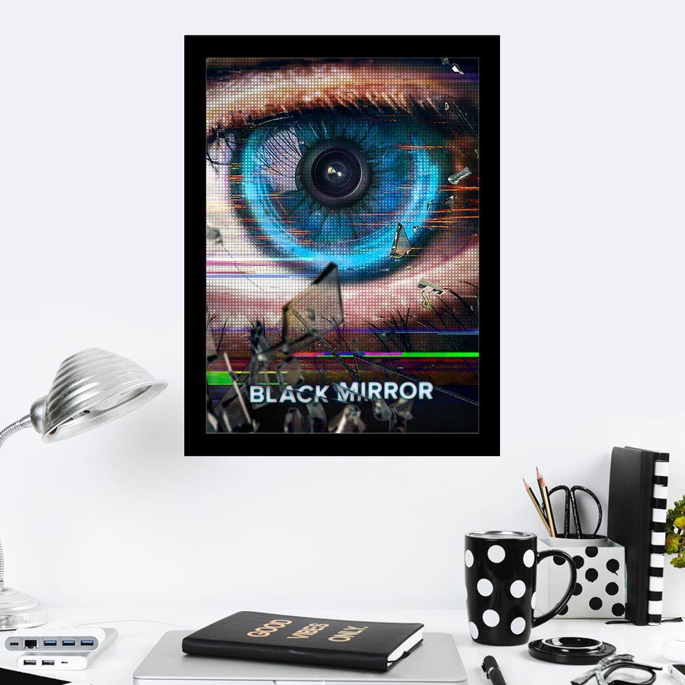 Quadro Decorativo 27x36 Black Mirror Olho