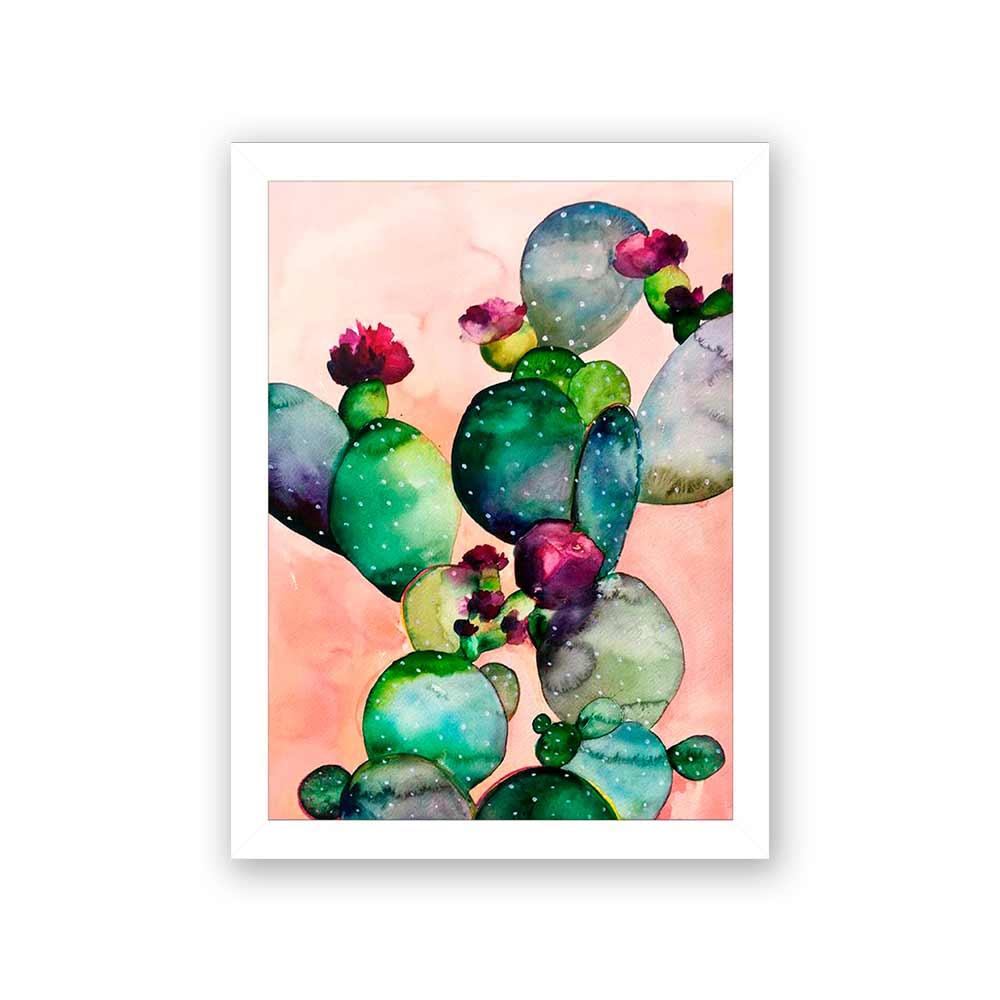 Quadro Decorativo 27x36 Cactos com Flor Fundo Rosa