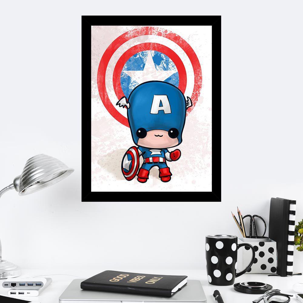 Quadro Decorativo 27X36 Capitain America Art