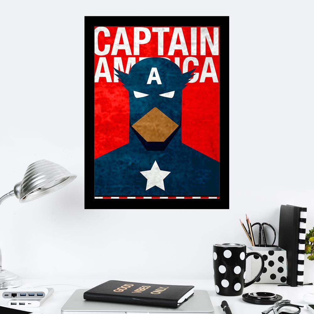 Quadro Decorativo 27X36 Capitain America Desenho
