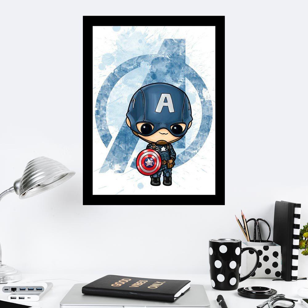 Quadro Decorativo 27X36 Capitão América Art