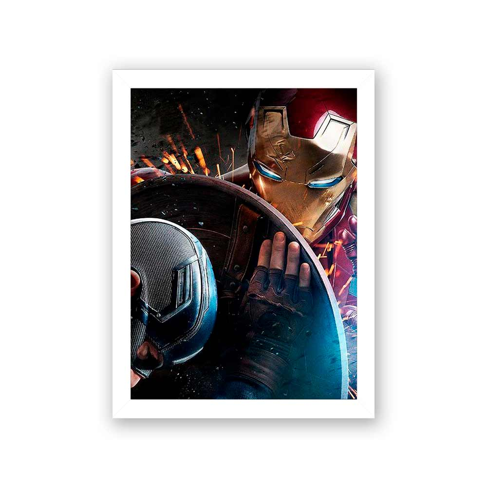 Quadro Decorativo 27X36 Capitão América e Homem de Ferro