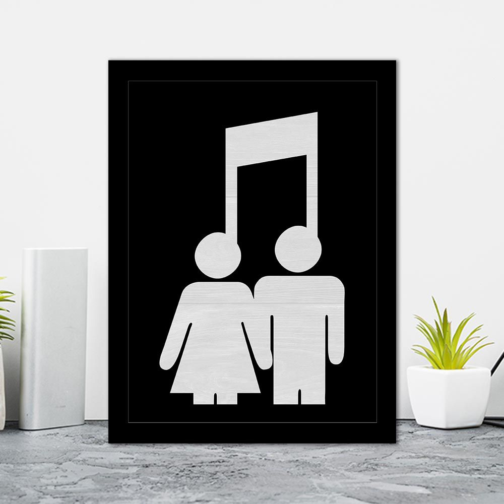 Quadro Decorativo 27x36 Casal Nota Musical