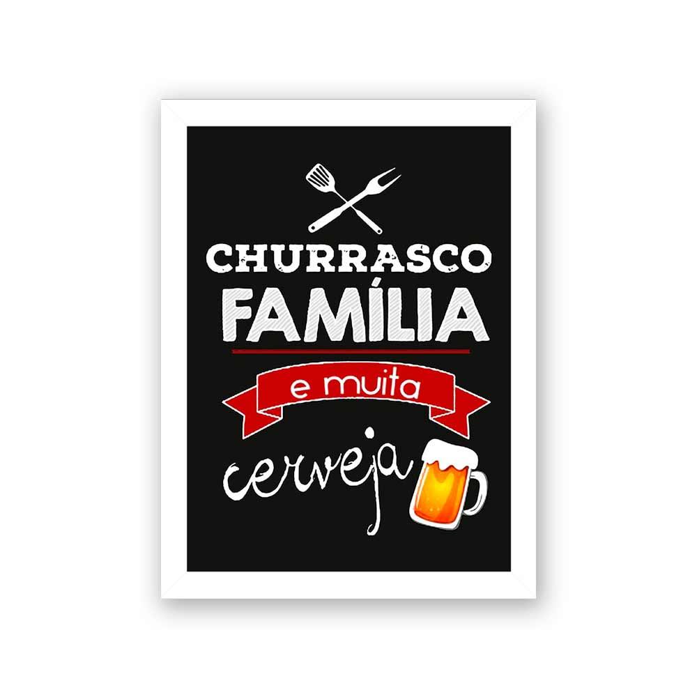 Quadro Decorativo 27x36 Churrasco Família e Muita Cerveja