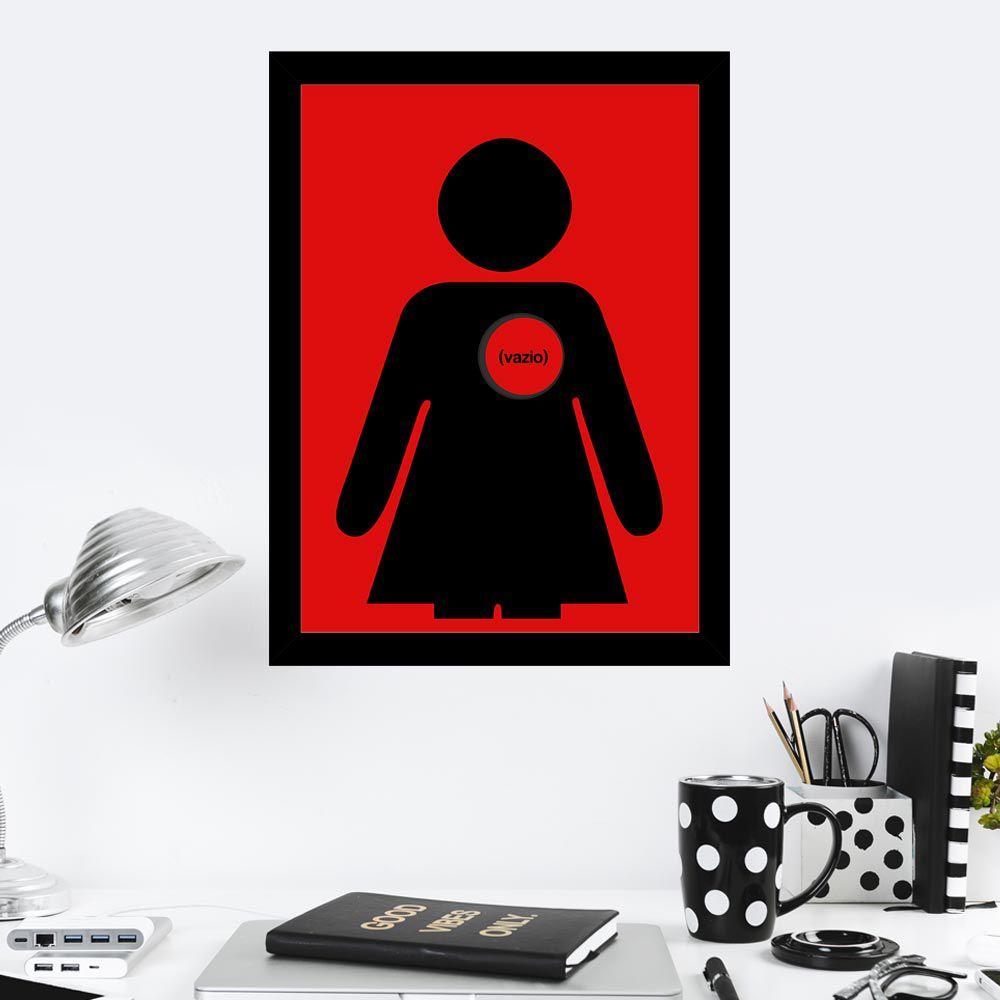Quadro Decorativo 27x36 Coração Vazio Mulher