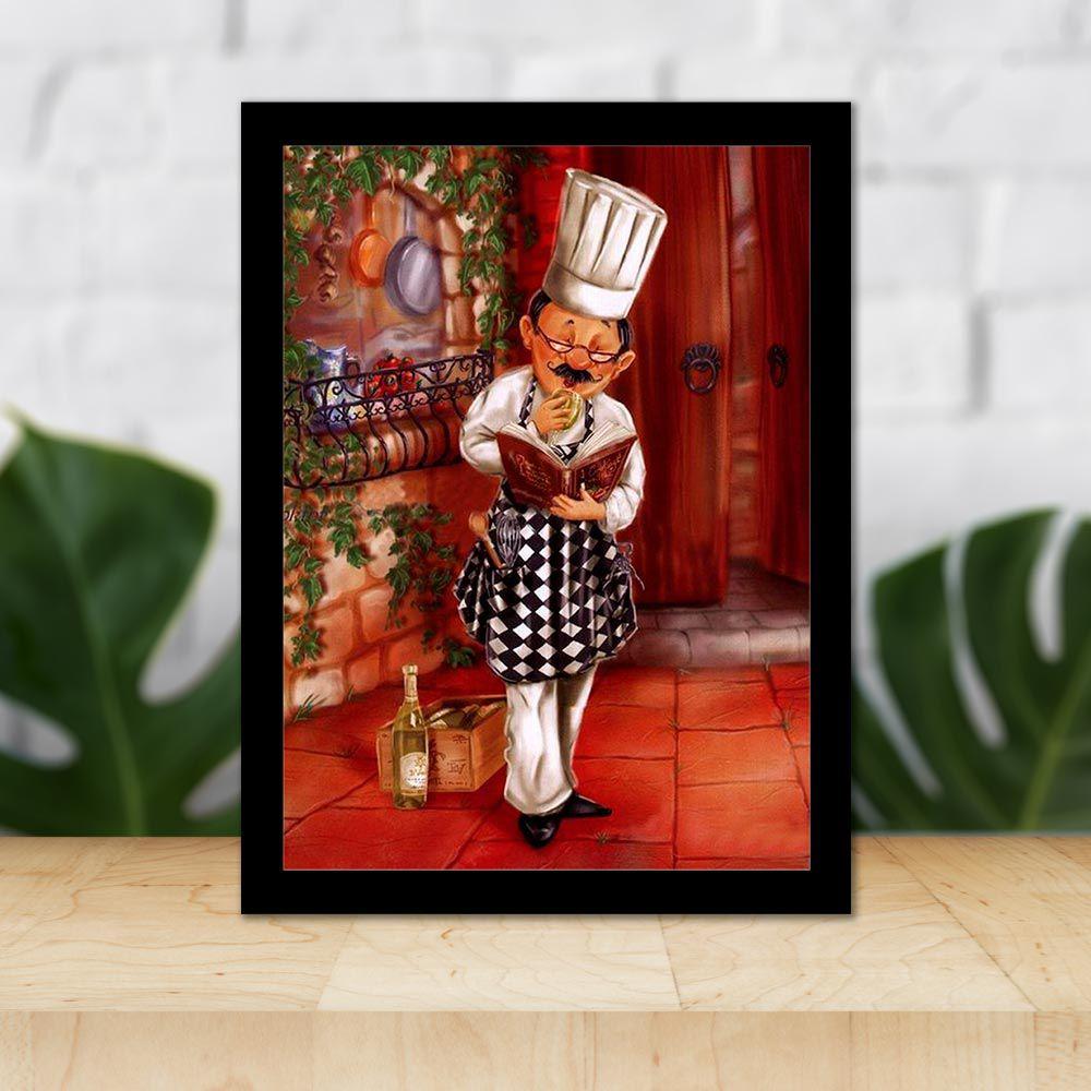 Quadro Decorativo 27x36 Cozinheiro Lendo Receitas