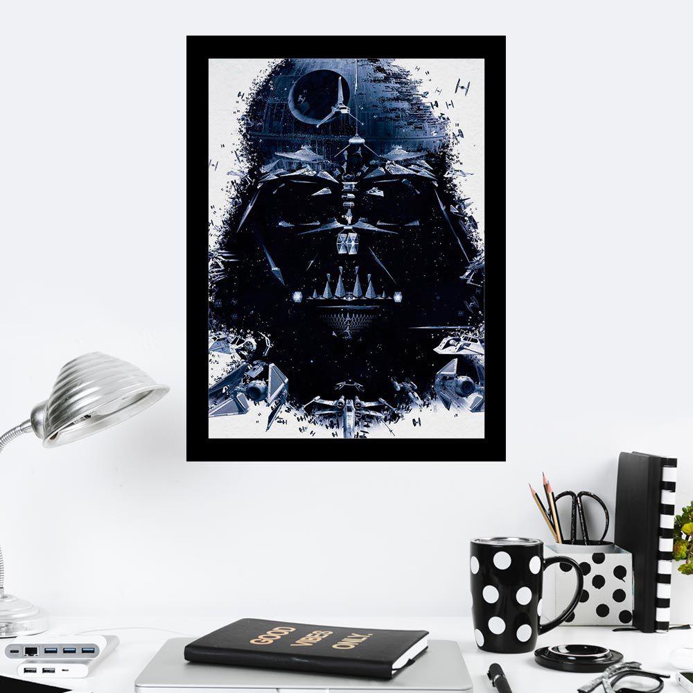 Quadro Decorativo 27X36 Darth Vader Helmet Death Star