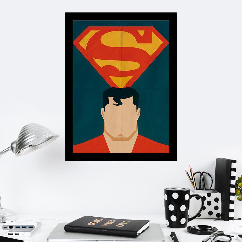 Quadro Decorativo 27X36 Desenho Amassado Super Homem