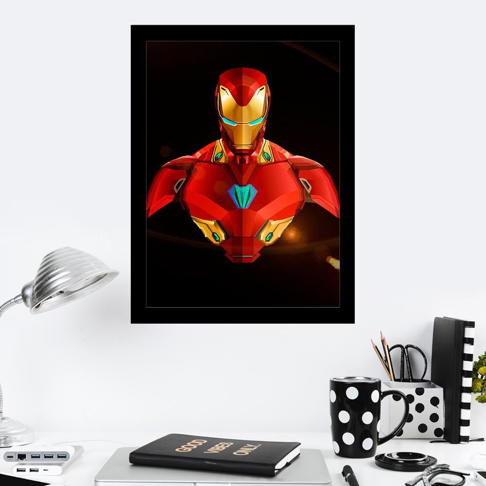 Quadro Decorativo 27X36 Desenho Digital Homem de Ferro
