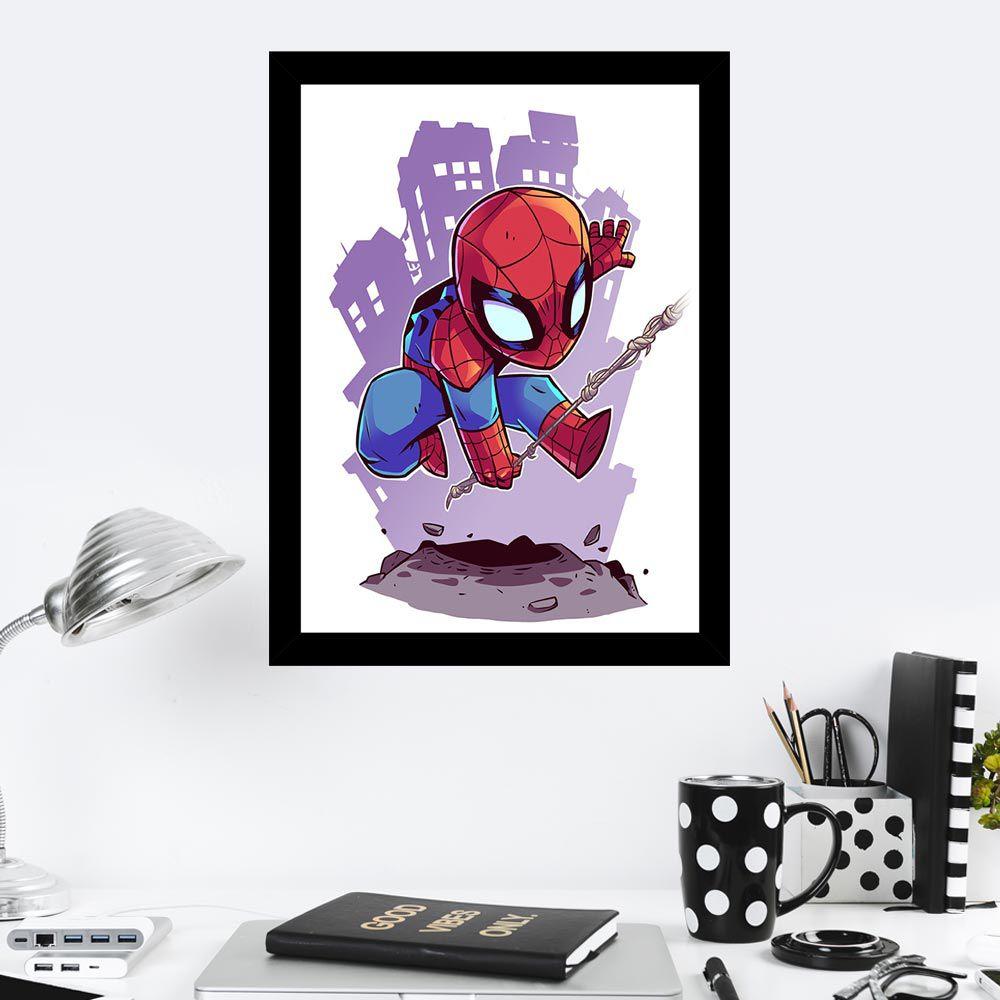 Quadro Decorativo 27x36 Desenho Infantil Homem Aranha
