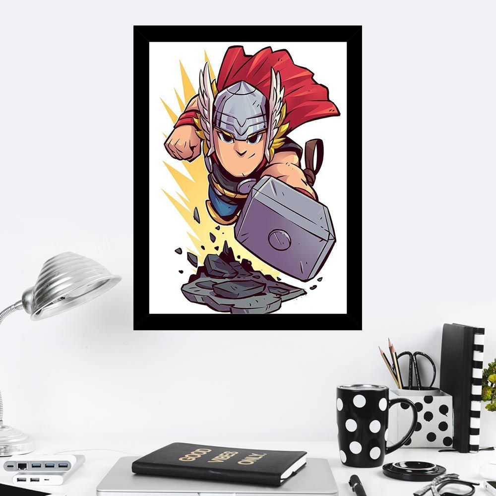 Quadro Decorativo 27X36 Desenho Infantil Thor