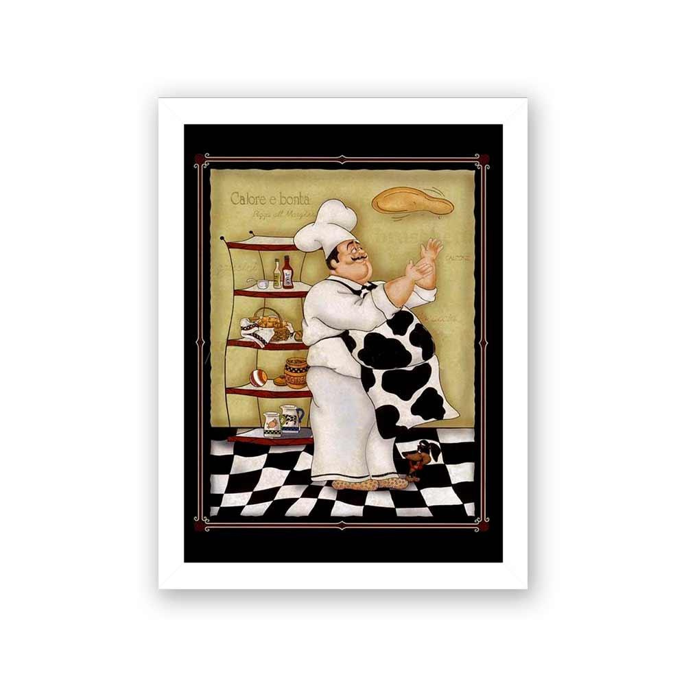 Quadro Decorativo 27x36 Desenho Pizzaiolo