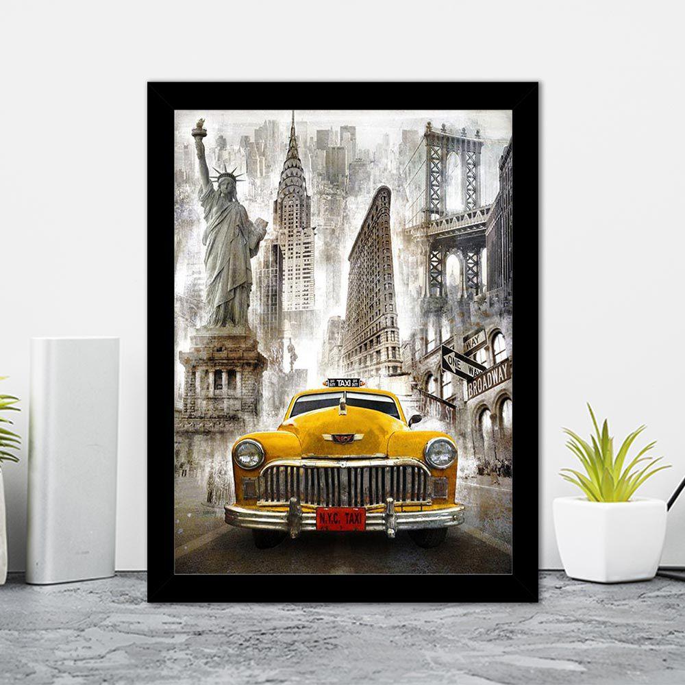 Quadro Decorativo 27x36  Desenho Taxi Nova York