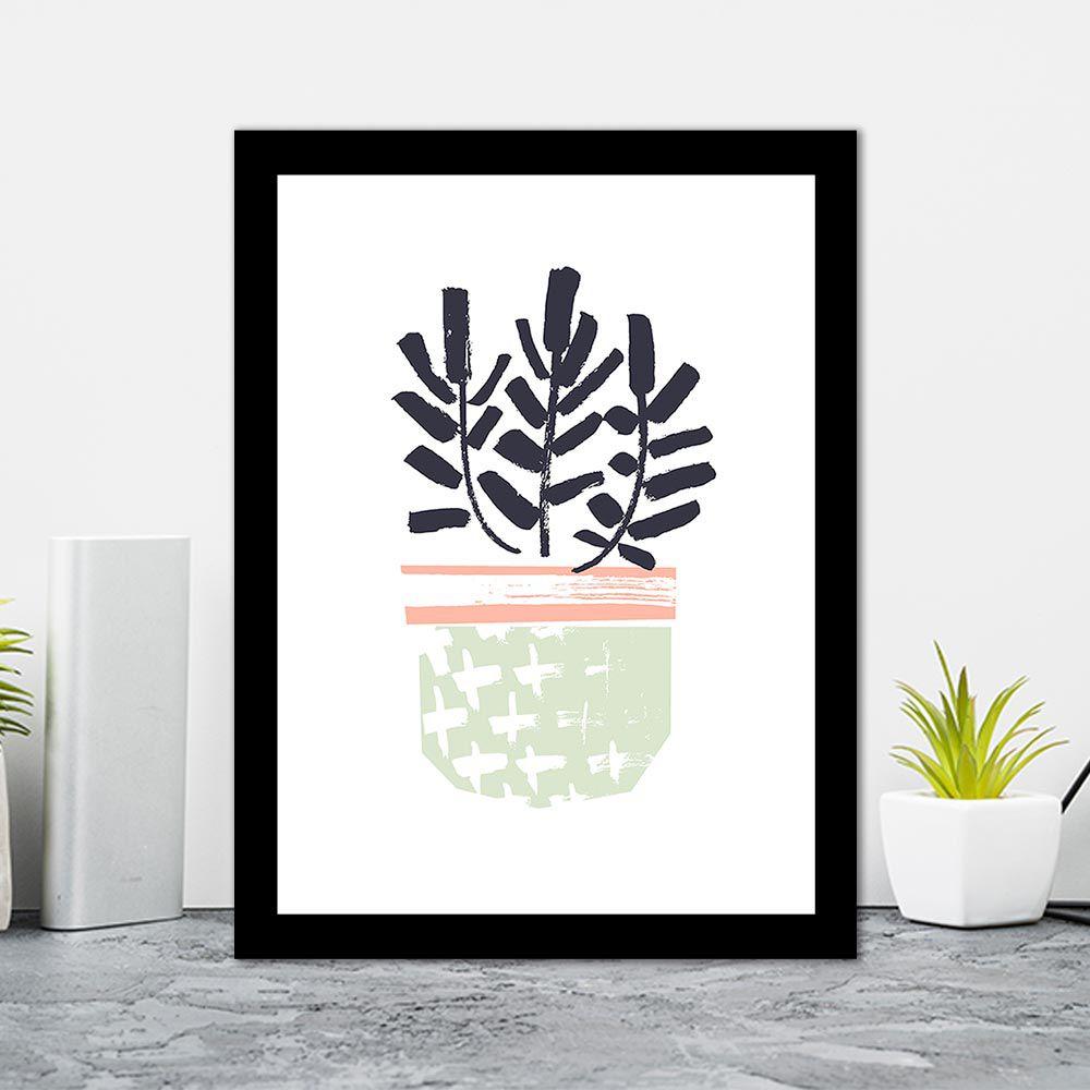 Quadro Decorativo 27x36 Desenho Vaso de Folhas -1