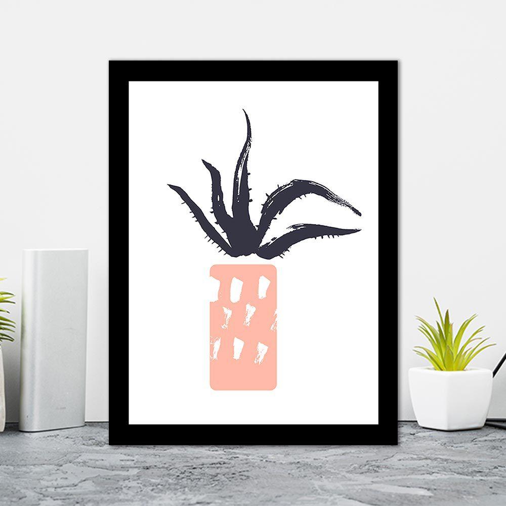 Quadro Decorativo 27x36 Desenho Vaso de Folhas -2