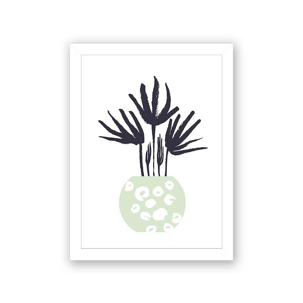 Quadro Decorativo 27x36 Desenho Vaso de Folhas -3