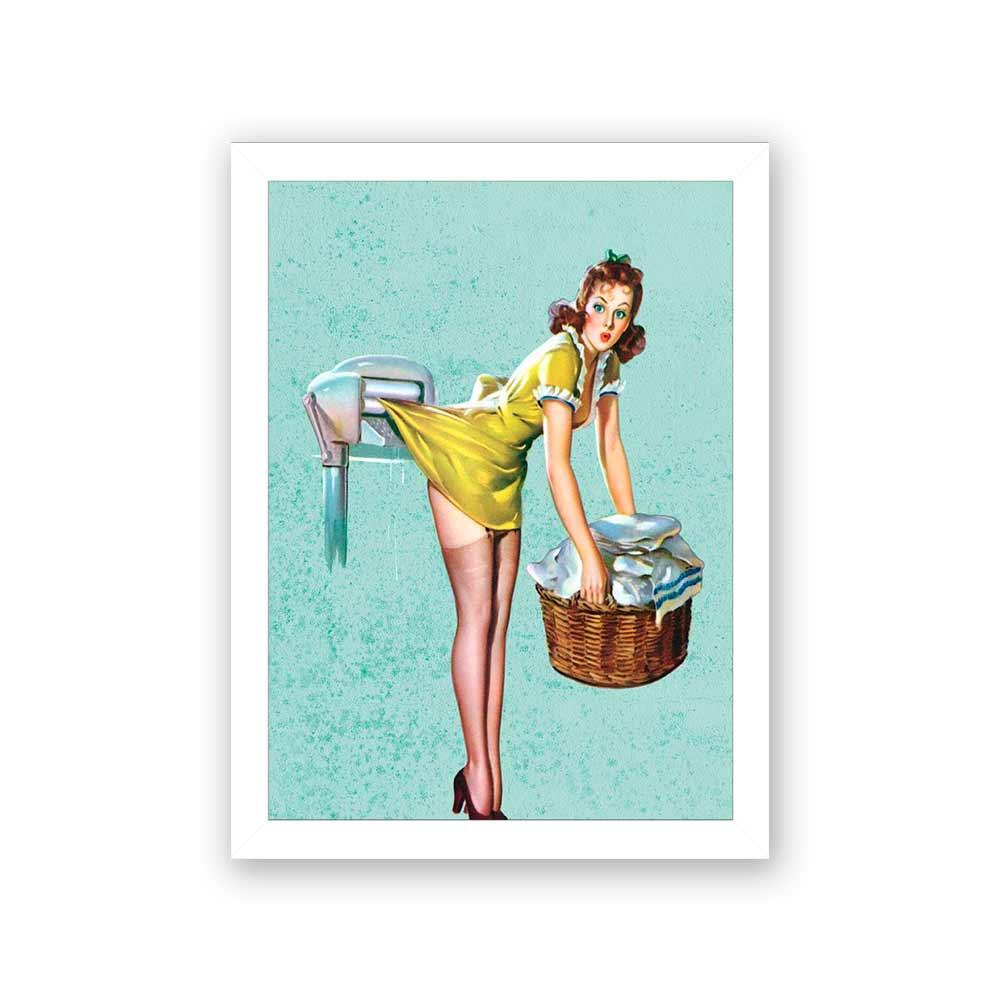 Quadro Decorativo 27x36 Desenho Vintage Mulher Lavando Roupa