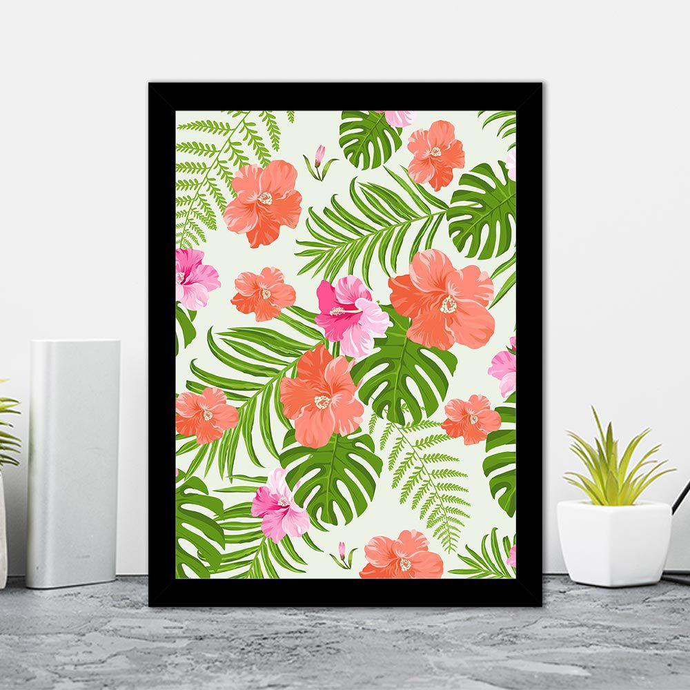 Quadro Decorativo 27x36 Desenhos de Flores Tropicais