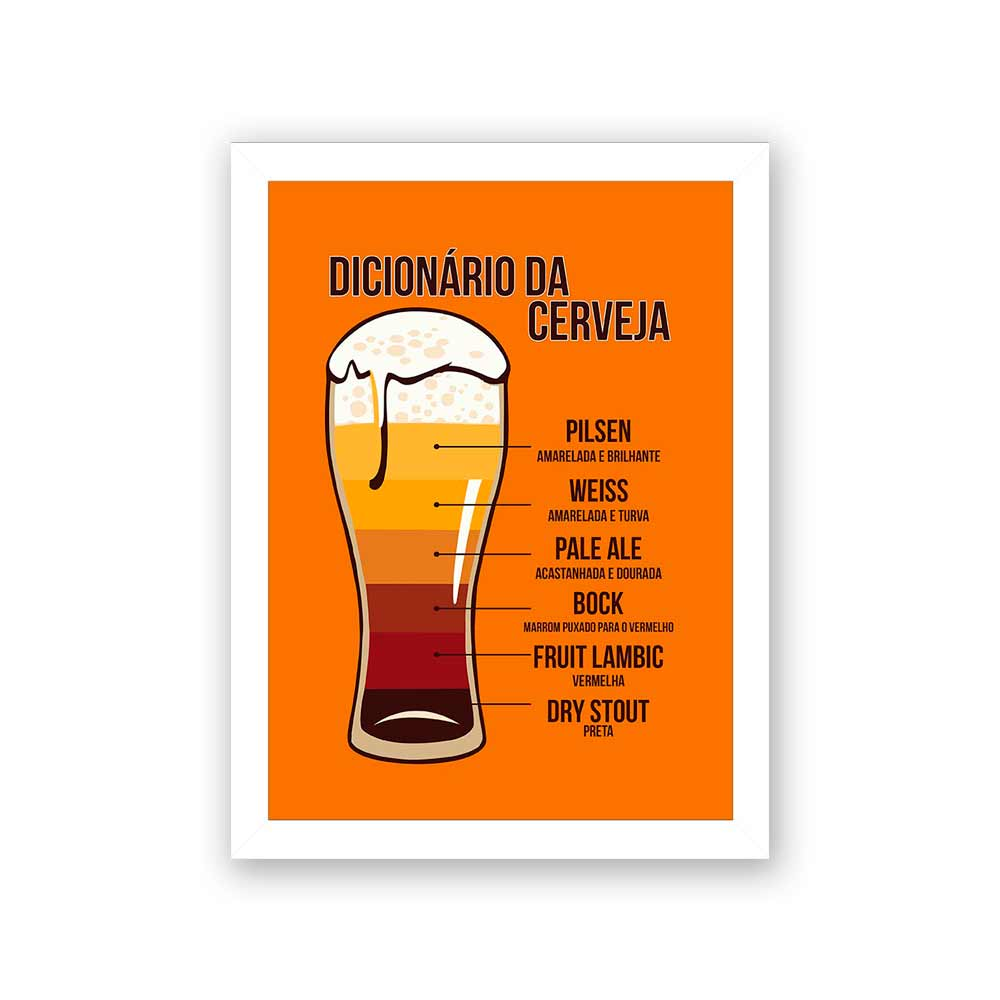 Quadro Decorativo 27x36 Dicionário da Cerveja