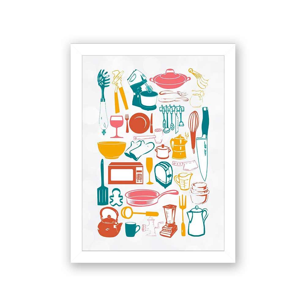 Quadro Decorativo 27x36 Diversos Utensílios Cozinha