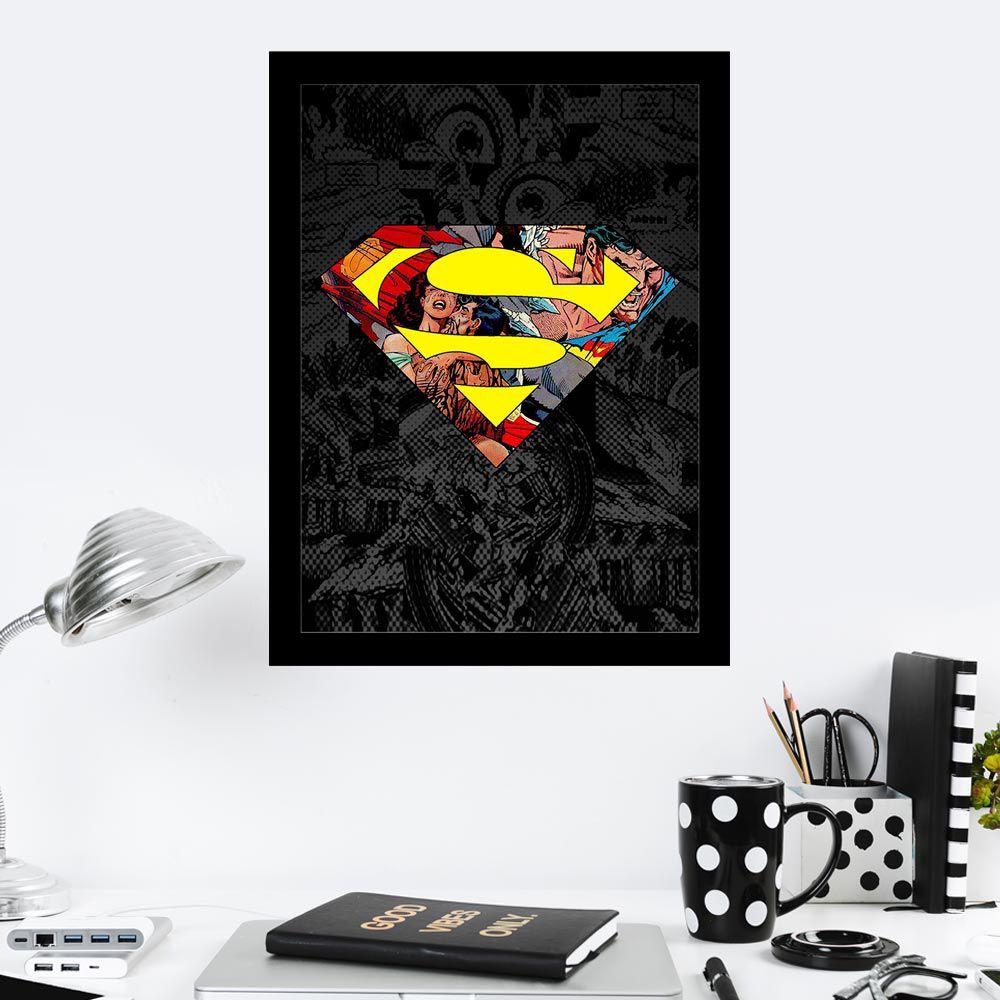 Quadro Decorativo 27X36 Emblema Super Homem