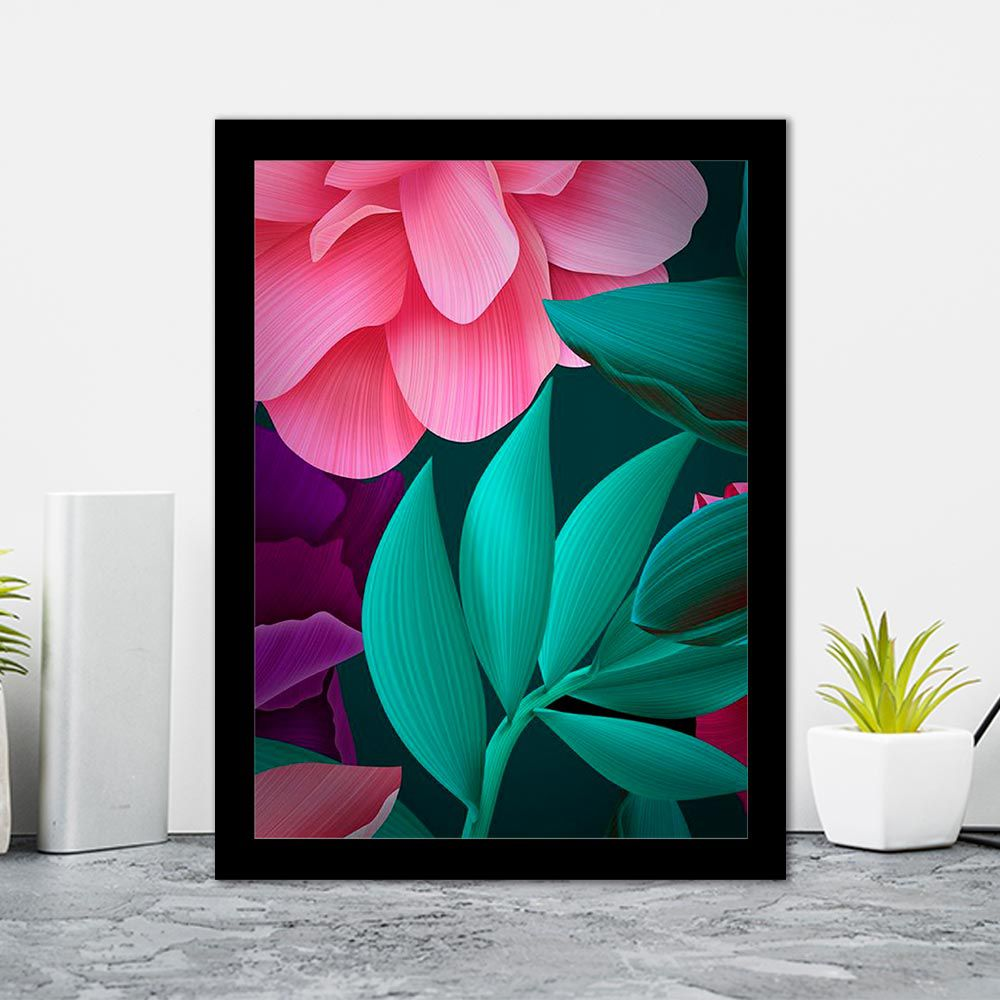 Quadro Decorativo 27x36 Folha Digital Colorida