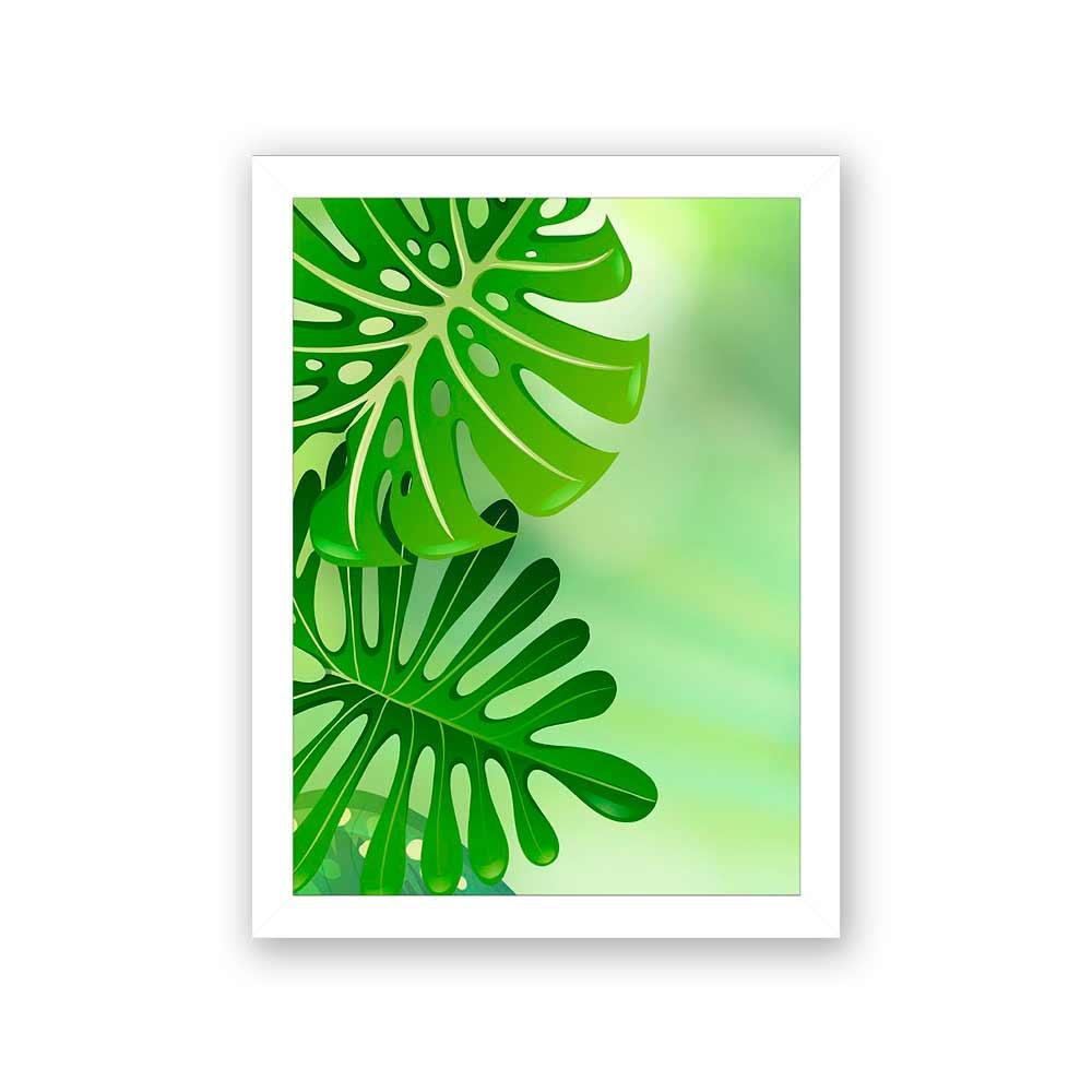 Quadro Decorativo 27x36 Folhagem Fundo Verde -1