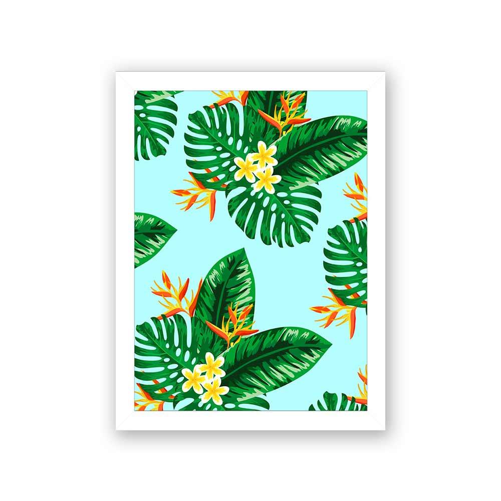 Quadro Decorativo 27x36 Folhagem Tropical Fundo Azul