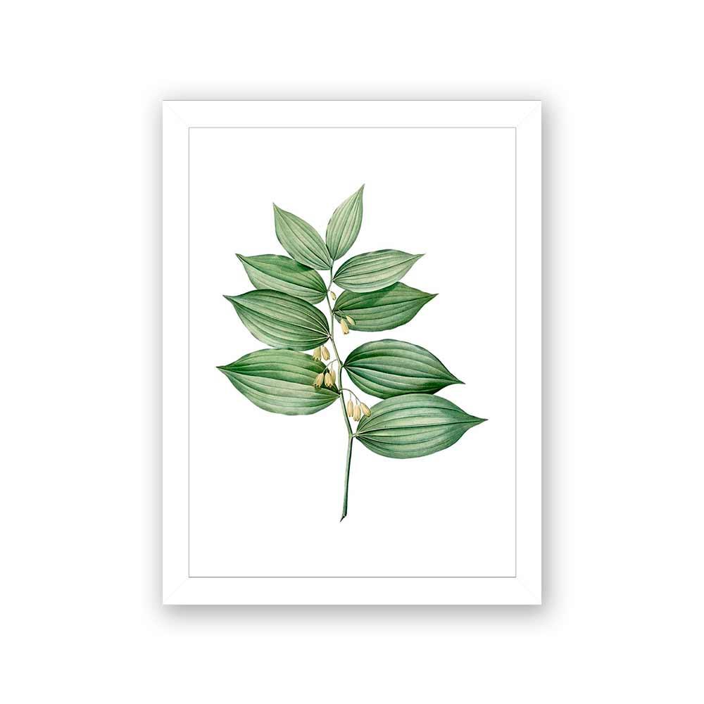 Quadro Decorativo 27x36 Folhas e Pequenas Flores