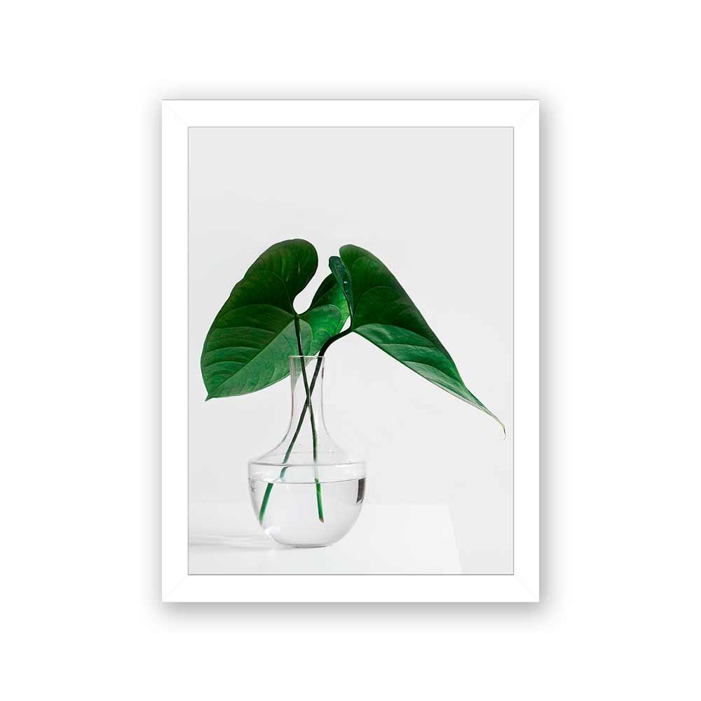 Quadro Decorativo 27x36 Folhas no Vaso de Vidro